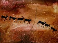 Silk paining based on rural bushmen painting, © Sarah Mackie
